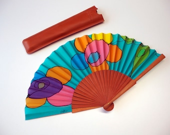 Handpainted Silk hand fan 17x9 in(43 cmx23 cm)-Wedding hand fan-spanish hand fan-Birthday gift-Gift unique-Leather case-Ready to be shipped