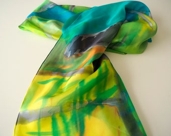 Hand Painted Silk Scarf-Abstract Silk Scarf-Colorful silk-Ready to be shipped-72x36in-180x90cm-Unique gift for women-girlfriend-mom