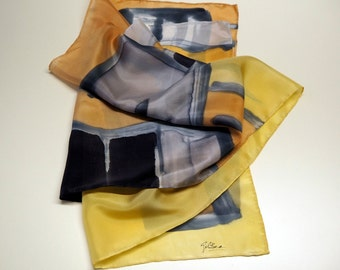 Hand Painted Silk Scarf/ Gift silk Scarf /Ooak silk scarf/ Ready to be shipped-55x18in-140x45cm-Unique gift for women-girlfriend-mom