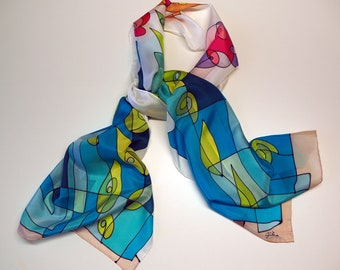 Hand Painted Silk Scarf/ Flowers Silk Scarf/ Ready to be shipped/ 71x18in-180x45cm/ Unique gift for women-girlfriend-mom