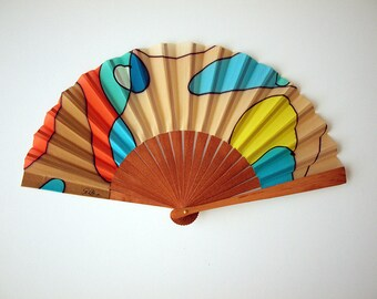 Handpainted Silk hand fan-Wedding hand fan-Giveaways-Bridesmaids-Gift for woman- Gift for Mom-Wife-Her-Girlfriend-Leather case