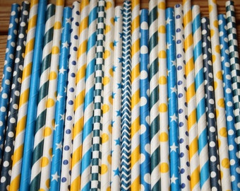30 Snow White Party Straws, Paper Straws, Assorted Patterns, Blue Yellow