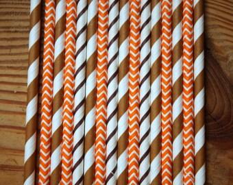 25 Cleveland Browns Party Straws -- Brown, Orange,  -- Paper Drinking  Straws-- Boy theme