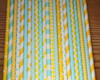 Mint Green and Yellow Party Straws