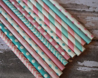 50 Gender Reveal Party Straws, Baby Blue, Baby Pink Shower Paper Drinking Straws