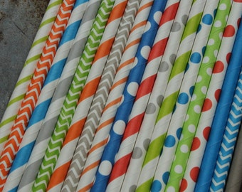 Jungle Party Straws -- set of 25 -- Blue, Grey, Green, Orange,  -- Paper Drinking -- Boy theme