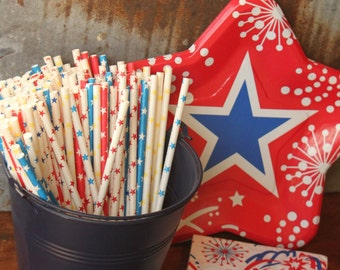 All American Paper Straws -- Set of 20 -- Red White Blue