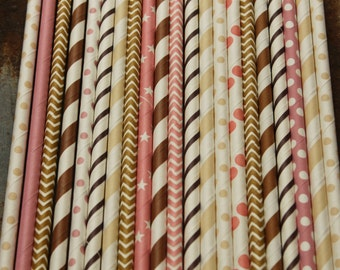 Paper Straws - Pink, Brown, Cream and White Chevron Party Straws Ice Cream Neapolitan Theme Birthday Wedding Bridal Baby Shower Mix