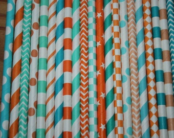 30 Blue and Orange Paper Straws, Party Straws, Miami Dolphin Football Party