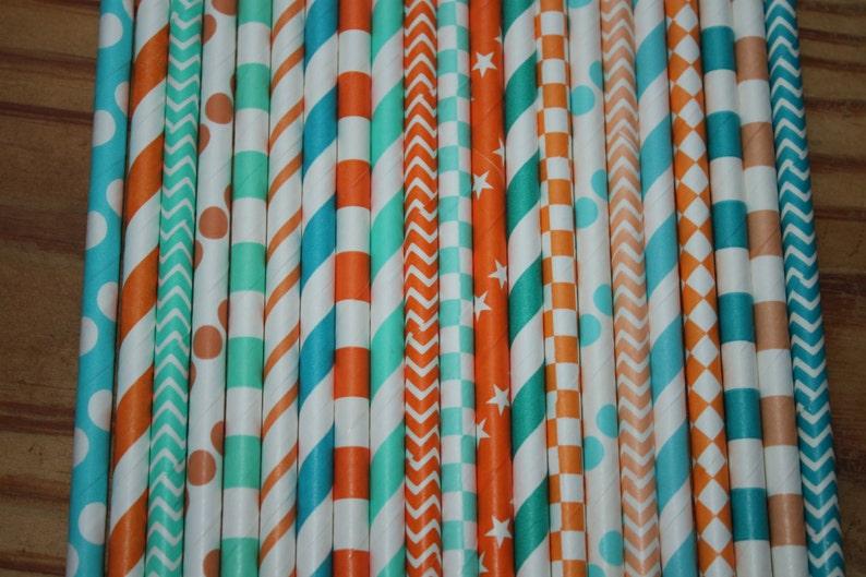 Miami Dolphin Football Party 30 Blue and Orange Paper Straws Party Straws