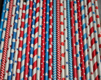 Avengers Theme Party Straws- Baseball-4th of July-Red-Blue- New York Giants