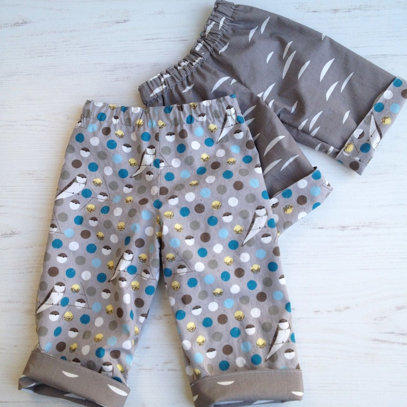 Organic cotton reversible pants in barn swallow and shroom image 0