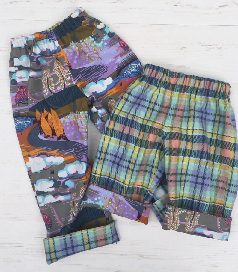 Flannel reversible pants sizes 6m-12m 12m-18m 18-24m 3T image 0