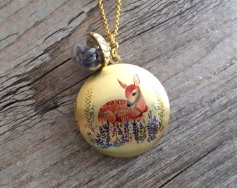 Fawn Lavender Locket Necklace - Deer Locket - Dried Lavender Jewelry - Gift for Her - Women - Under 40 - Woodland Necklace