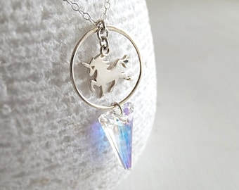 Circle Spike Unicorn Necklace - Sterling Silver Unicorn - Swarovski Spike - Holographic Crystal - Geometry - Gift for Her
