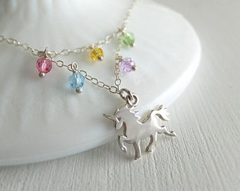 Rainbow Unicorn Jewelry Necklace - Sterling Silver Unicorn - Colorful Crystals - Girls Jewelry - Gift for Her - Teenager Gift