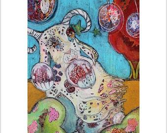 "Print- ""Ancient Forest Guardian"" - Mixed Media Art, Magical Creatures, Fantasy Creatures, Gypsy Art, Boho"