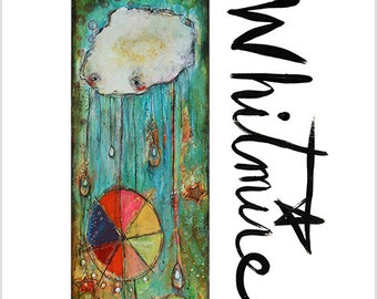 "Print- ""Wish Granted Cloud"" - Mixed Media, Wish, Manifestation, Abundance, Happy, Colorful, Kids Room, Raindrops"