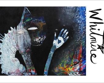 "Print- ""Manifesting Abundance"" -Abundance and Creation- Mixed Media Art, Dark Night, Ying Yang, Shadow Self, Balance, Creation, Vortex"