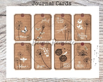 Junk Journal Supplies, Dandelion, Bee, Butterfly, Printable Tags, DIY Craft Kit, Vintage Inspired, Download, Inspirational Quotes
