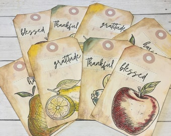 Tags, Junk Journal Supplies, Watercolor Fruits, Tag Set, Thankful, Gratitude, Blessed, Autumn Harvest, Apple, Blueberries, Pear, Lemon