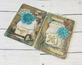 Artist Trading Card Set, Cottage Art, Bird & Bee, ATC Set, Junk Journal Supplies, Altered Playing Cards, ATC Cards, ACEO, Mini Art