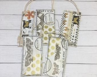Junk Journal Tags, Ephemera, Junk Journal Kit, Embellishments, Collage Art, Tags, Chicken Tags, Butterflies, Handmade, Wolf Tags
