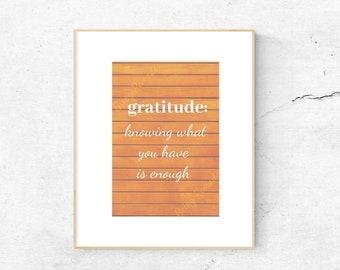 Downloadable Art Print, Gratitude, Fall Decor,  Digital Download, Word Art, Quote, Home Decor, DIY, Typography, Gratitude Quote, Wall Art