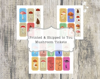 Mushrooms, Tickets, Junk Journal Supply, Cottage Journal Supplies, Printed & Shipped, Ephemera, Vintage Inspired, Altered Ticket