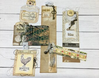 Junk Journal Supplies, Ephemera, Vintage Inspired, Junk Journal Kit, Handmade Embellishments, Ephemera, Collage Art, Bookmarks,