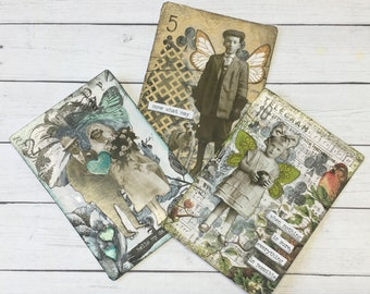 Artist Trading Card, Mixed Media Art, Vintage, Junk Journal Supplies, Paper Doll, Altered Playing Cards, ATC Cards, ACEO, Mini Art