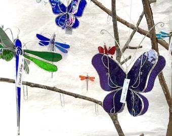 Vous choisissez n'importe quelle couleur et taille - 3D vitrail libellule pirouette - capteur maison jardin suspendu Nature ornement décor insecte (fait à la commande)