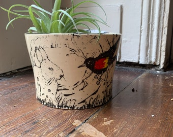 Red Winged Black Bird Bunny Rabbit - Made to Order