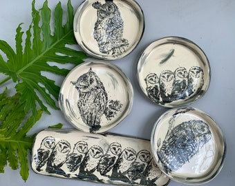"Owl Dinner Plate Set - Platter & 4 Plates - Hand Made -11"""