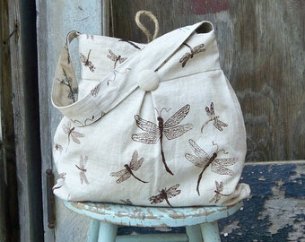 Dragonfly Bag Large Reversible Hobo Bag - - Tea Stained Dragonflies and Black Birds