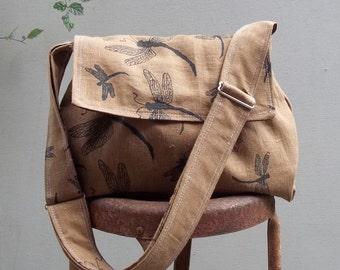 Reserved - Medium Messenger Bag - Dragonflies