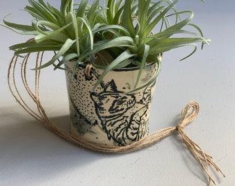 Ceramic Kitty Cat Heart Hanging Planter