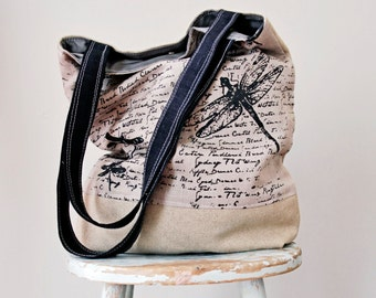 Dragonfly Grey Linen Tote - Hand Printed - Hemp Canvas -  2 Pockets