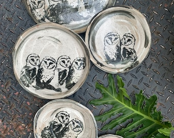Barn Owl Plate Set - Made to Order