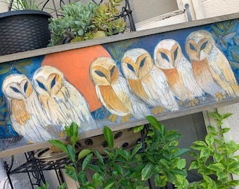 Barn Owl Copper Moon Original Painting