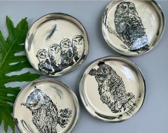 "8"" Owl Dinner Plate Set - 4 Plates - Hand Made -11"""