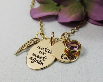 Personalized Remembrance Necklace, Angel Wing Necklace, Until We Meet Again, In Memory Of, Name Birthstone, 14kt Gold Fill, Memorial Jewelry