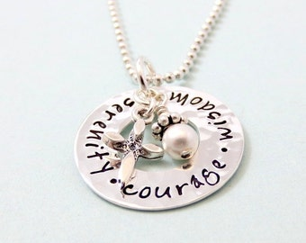 Serenity Prayer Necklace - Faith Necklace - Sobriety Jewelry - Hand Stamped Jewelry Sterling Silver Washer, Serenity Courage Wisdom Necklace