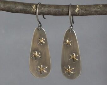 Gold Star Dangle Earrings, Black and Gold Teardrop Earrings, Celestial Earrings, Starburst Earrings, Multi star Earrings