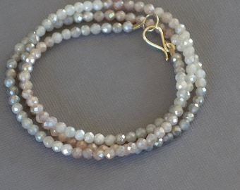 Moonstone Necklace with 14k Gold Clasp, Faceted Moonstone Necklace, Peach Mooonstone, Grey Moonstone, Beaded Moonstone Necklace
