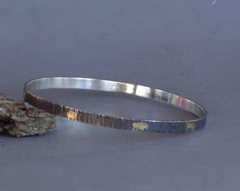 Keum Boo Bangle, Textured Bangle with Gold Accents, Tree Bark,