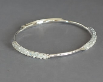 Silver Bangle, Clear Quartz Bracelet, Skinny Bangle, Stacking Bangle, Clear Bracelet, Anticlastic Bangle, Thin Bangle,