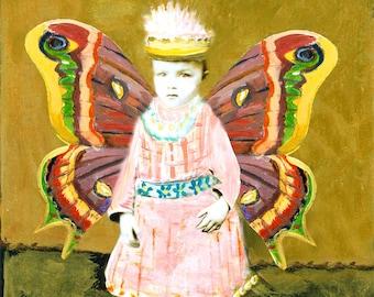 Moth Fairy Winged Little Girl  Fine Art Photo Print