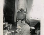 Vintage Snapshot 1956 Little Girl Betty TV Turns Doll Movement snapshot photo