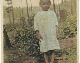 Bare Foot Little Girl HAnd Tinted Photo